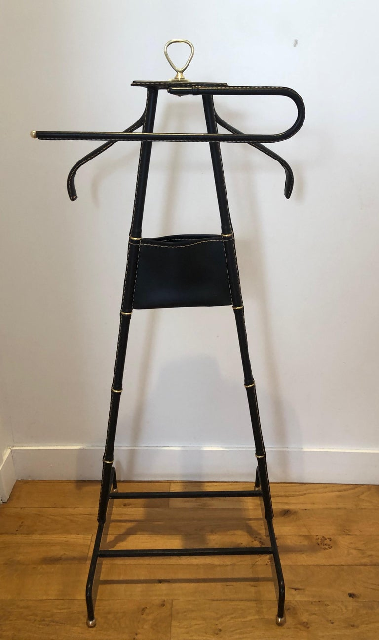 Mid-20th Century 1950s Jacques Adnet Black Valet For Sale
