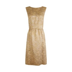 1950s Jacques Heim Demi Couture Gold Brocade Shift Dress