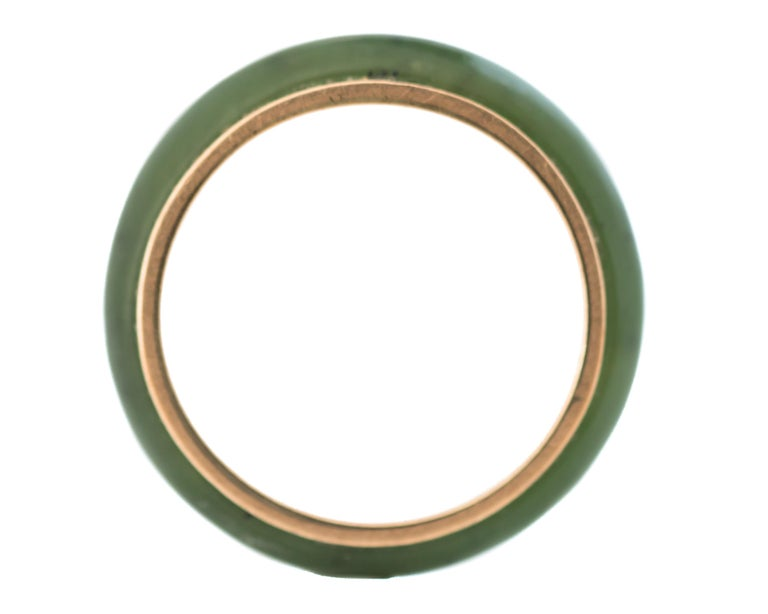 Women's or Men's 1950s Jade and 14 Karat Yellow Gold Band Ring For Sale