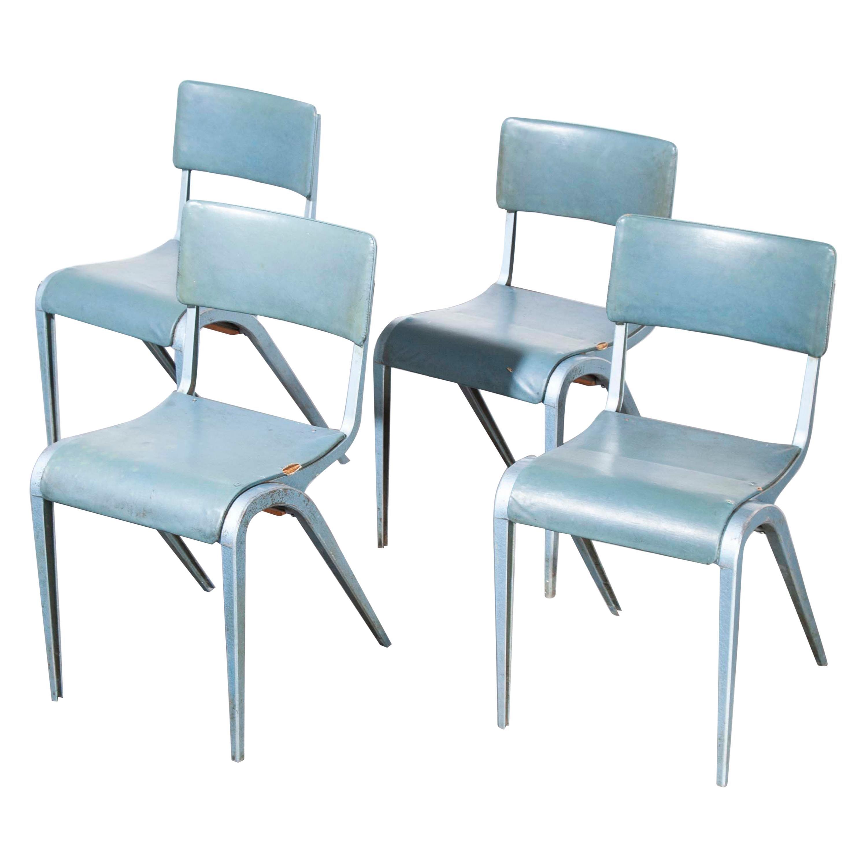 1950s James Leonard Esavian ESA Upholstered Stacking Chairs, Set of Five