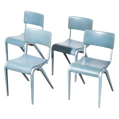 1950s James Leonard Esavian ESA Upholstered Stacking Chairs, Set of Five
