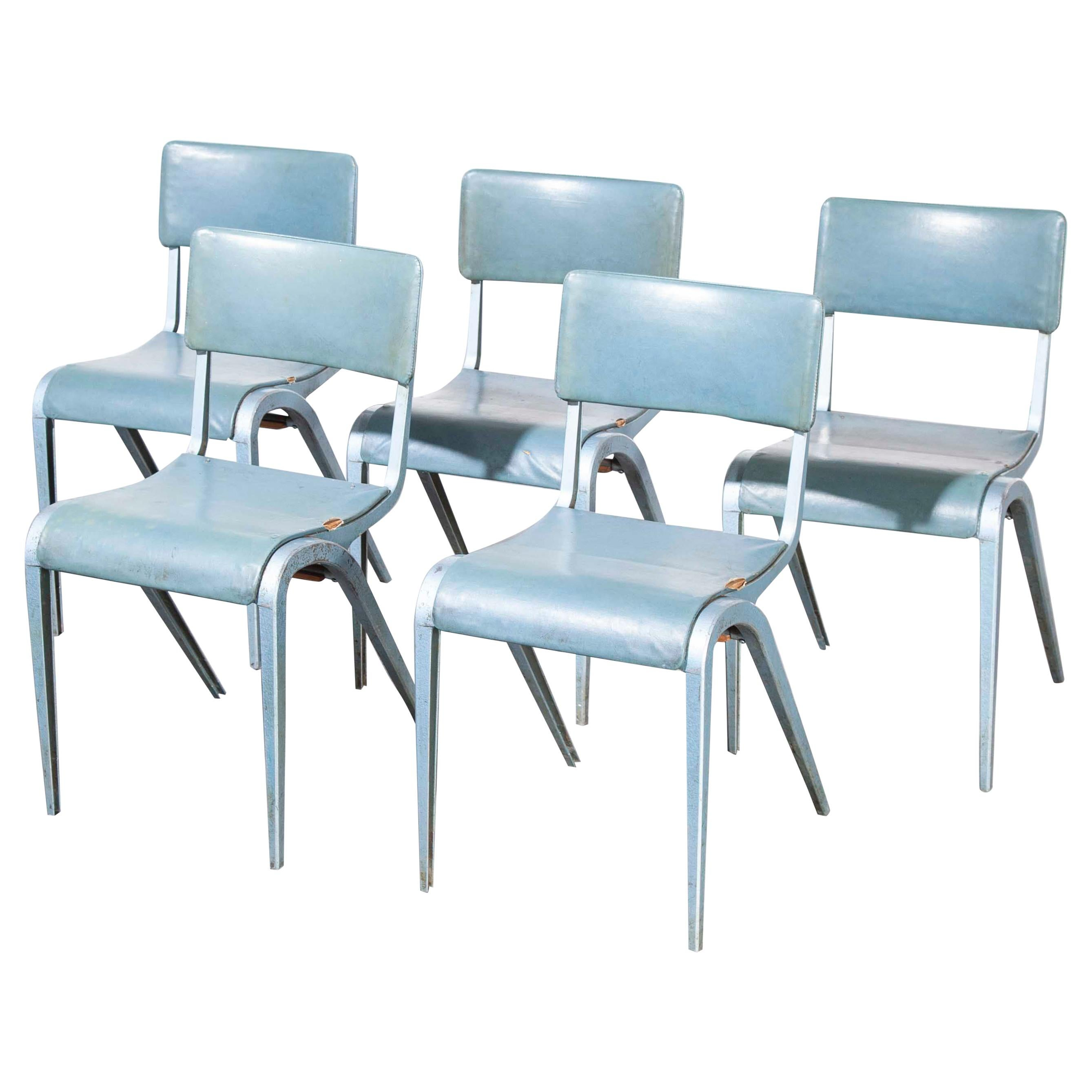 1950s James Leonard Esavian ESA Upholstered Stacking Chairs, Set of Four