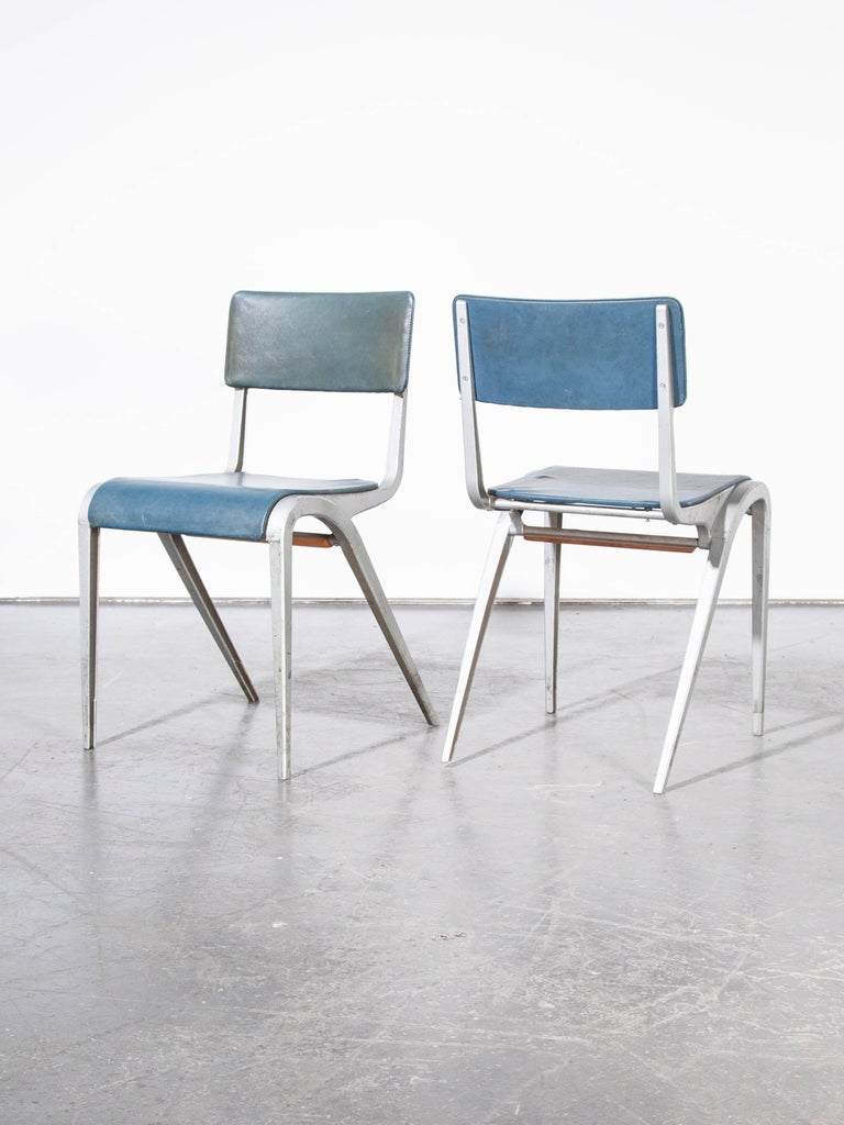 1950s James Leonard Esavian ESA upholstered stacking dining chairs – side chairs – pair aluminium frame. We have always loved the work of James Leonard for Esavian and we rarely come across the upholstered side chairs. Dating from the early 1950s