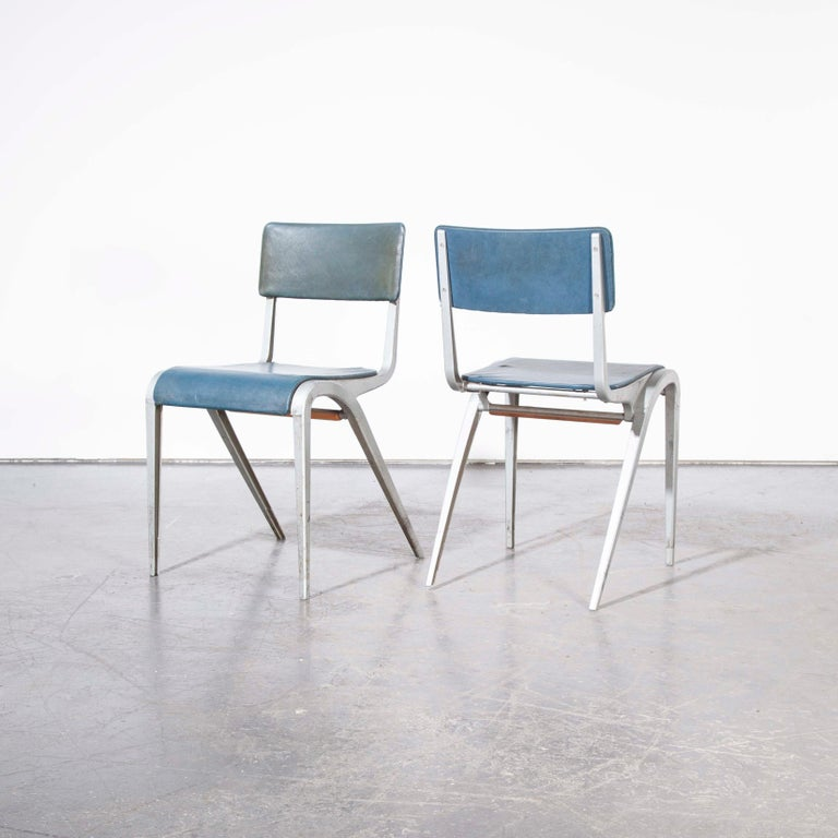 Mid-20th Century 1950s James Leonard Esavian Esa Upholstered Stacking Dining Chairs For Sale