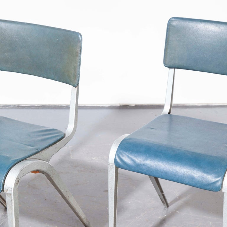 Aluminum 1950s James Leonard Esavian Esa Upholstered Stacking Dining Chairs For Sale