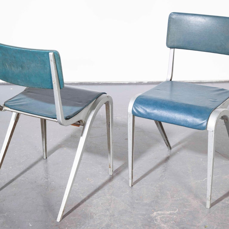 1950s James Leonard Esavian Esa Upholstered Stacking Dining Chairs For Sale 1