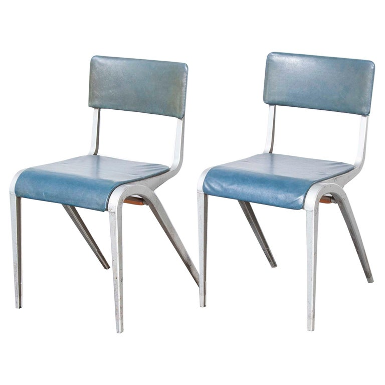 1950s James Leonard Esavian Esa Upholstered Stacking Dining Chairs For Sale