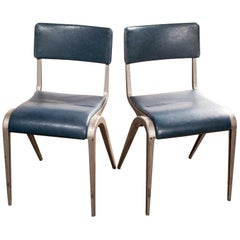 1950s James Leonard Esavian ESA Upholstered Stacking Dining Chairs, Side Chair