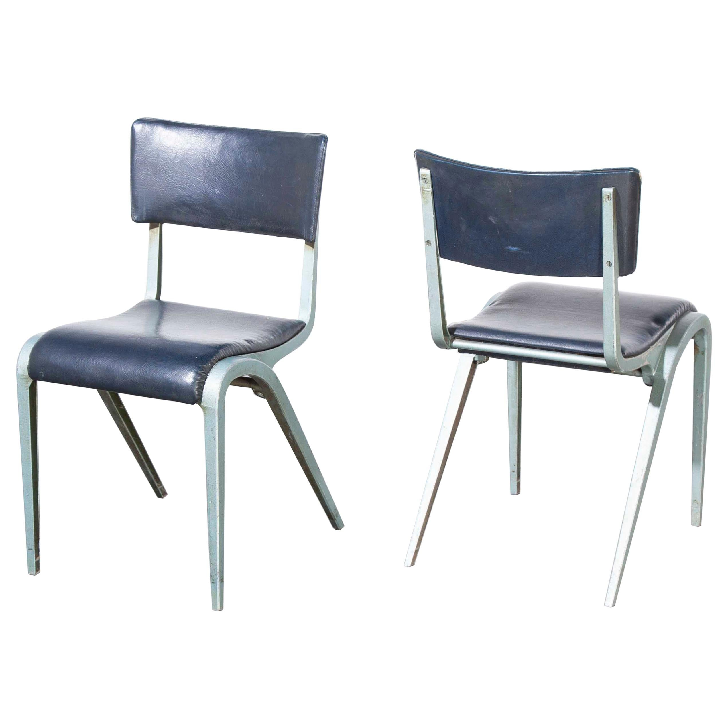 1950s James Leonard Esavian ESA Upholstered Stacking Dining Chairs, Side Chairs