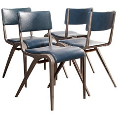 1950s James Leonard Esavian Upholstered Stacking Dining Chairs, Set of Four
