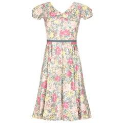 1950s Jane Derby by Oscar de la Renta Polished Cotton Floral Dress