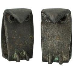1950s Japan Iron Owl Sculptures like Isamu Noguchi Vintage Bird Pair Midcentury
