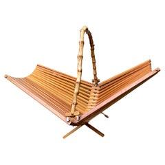 1950's Japanese Foldable Bamboo Fruit Basket or Centerpiece