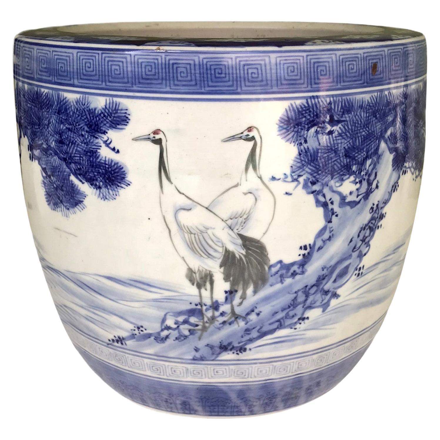 1950s Japanese Modern Blue/White Ceramic Hibachi w Cranes, Pine Trees, Mountains