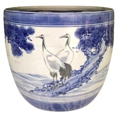 1950s Japanese Modern Blue/White Ceramic Hibachi w Cranes, Pine Trees, Mountains