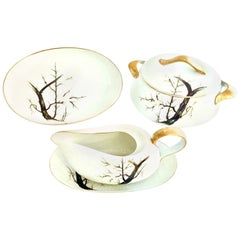 "1950s Japanese Porcelain Serving Piece ""White Plum"" Set of 5 by, Gold China"