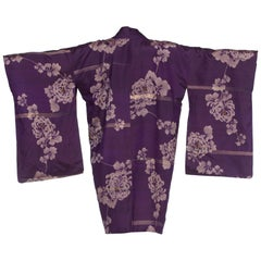 1950's Japanese Purple Floral Silk Kimono