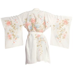 1950S Japanese Rayon Floral Pastel Kimono
