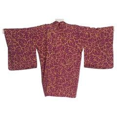 1950'S Japanese Silk In A Modernist Yellow On Wine Leak Print Kimono