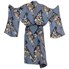1950's Japanese Silk Kimono Wrap Dress