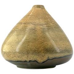 1950s Japanese Wabi-Sabi Sandy-Tan Tilted Asymmetric Porcelain Bud Vase MCM