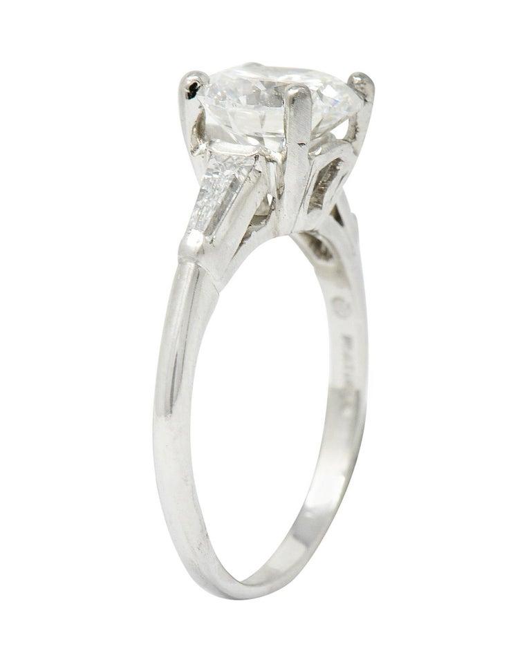 1950's J.E. Caldwell 1.81 Carats Diamond Platinum Three Stone Engagement Ring For Sale 4