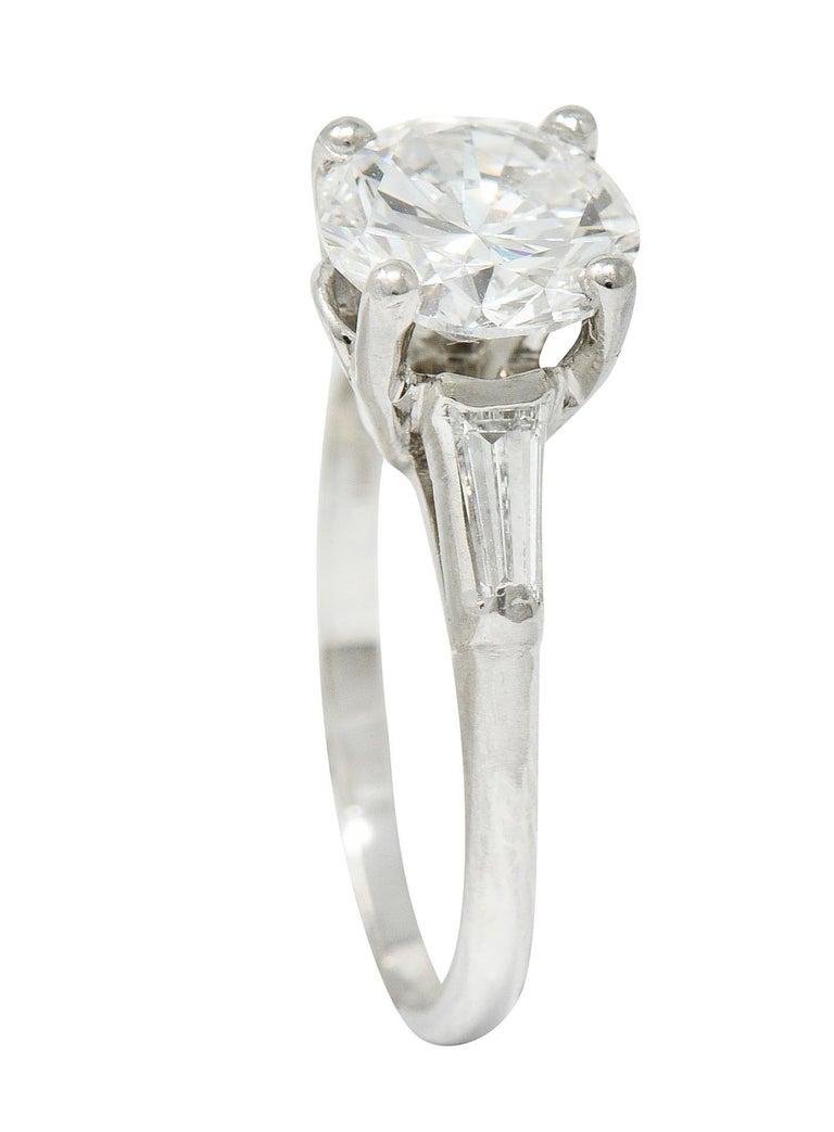1950's J.E. Caldwell 1.81 Carats Diamond Platinum Three Stone Engagement Ring For Sale 5
