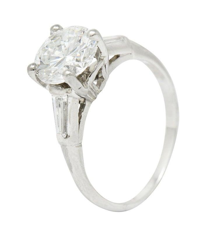 1950's J.E. Caldwell 1.81 Carats Diamond Platinum Three Stone Engagement Ring For Sale 6