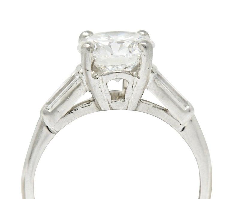 1950's J.E. Caldwell 1.81 Carats Diamond Platinum Three Stone Engagement Ring For Sale 7