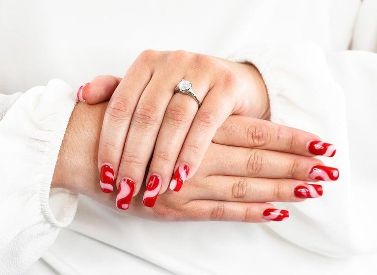 1950's J.E. Caldwell 1.81 Carats Diamond Platinum Three Stone Engagement Ring For Sale 9