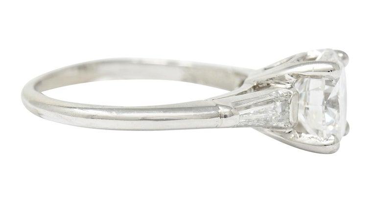 Retro 1950's J.E. Caldwell 1.81 Carats Diamond Platinum Three Stone Engagement Ring For Sale