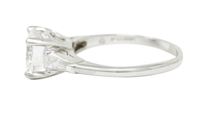1950's J.E. Caldwell 1.81 Carats Diamond Platinum Three Stone Engagement Ring In Excellent Condition For Sale In Philadelphia, PA