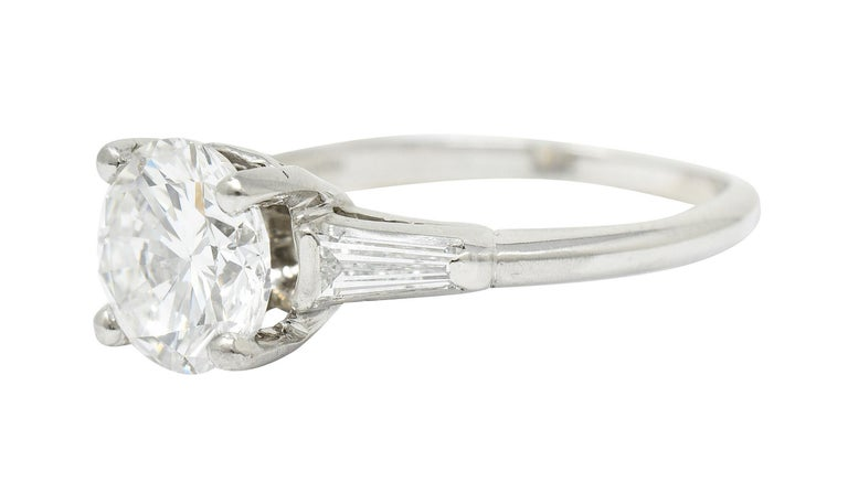 Women's or Men's 1950's J.E. Caldwell 1.81 Carats Diamond Platinum Three Stone Engagement Ring For Sale