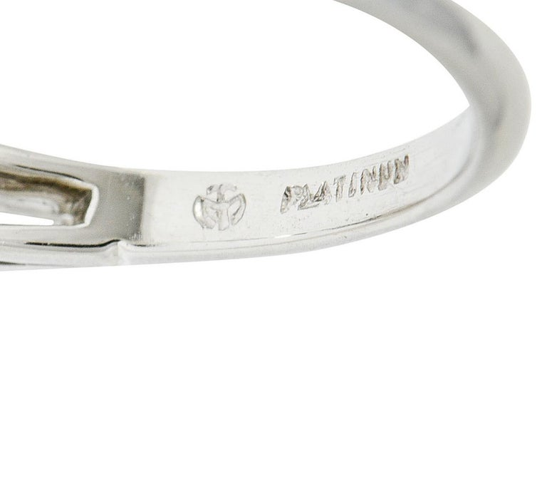 1950's J.E. Caldwell 1.81 Carats Diamond Platinum Three Stone Engagement Ring For Sale 1
