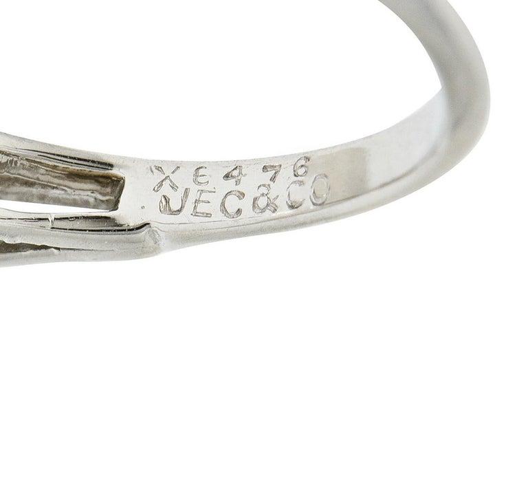 1950's J.E. Caldwell 1.81 Carats Diamond Platinum Three Stone Engagement Ring For Sale 2