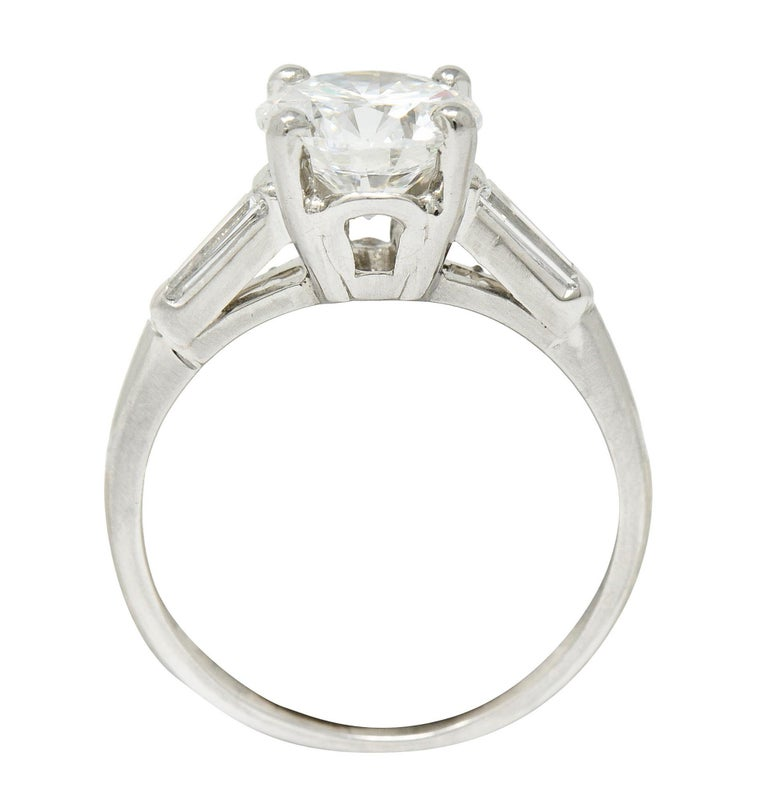 1950's J.E. Caldwell 1.81 Carats Diamond Platinum Three Stone Engagement Ring For Sale 3