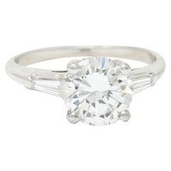 1950's J.E. Caldwell 1.81 Carats Diamond Platinum Three Stone Engagement Ring