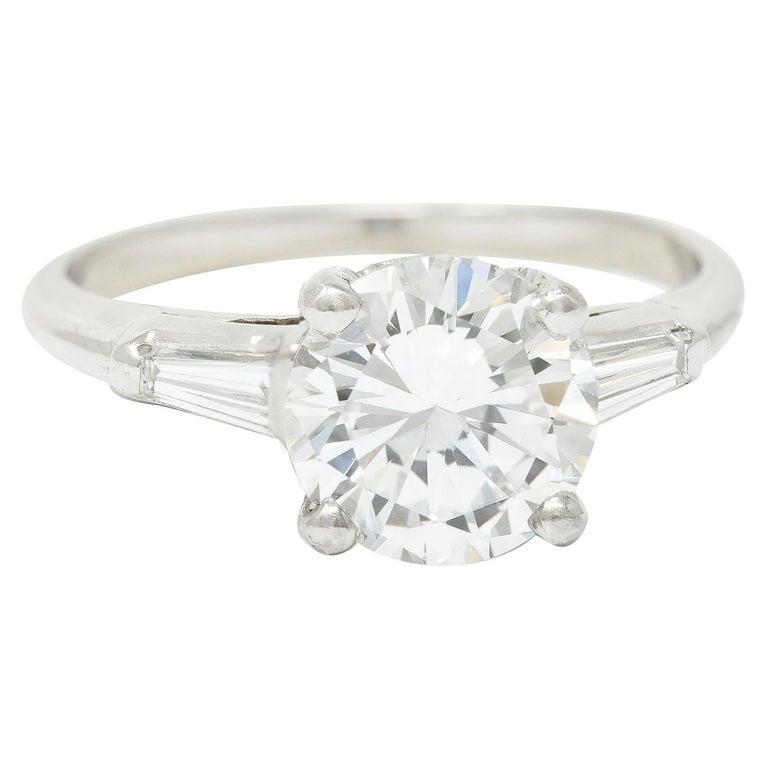 1950's J.E. Caldwell 1.81 Carats Diamond Platinum Three Stone Engagement Ring For Sale