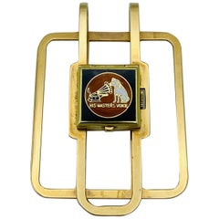 1950s J.E. Caldwell & Co. 14K Yellow Gold & Enamel Money Clip and Watch