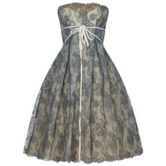 1950s Jean Wurtz Haute Couture Blue Chantilly Lace Dress