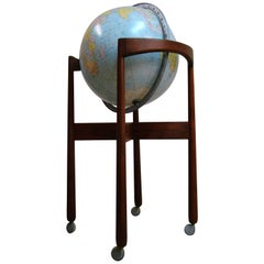 1950s Jens Risom designed Sculptural Walnut Standing Floor Globe, USA