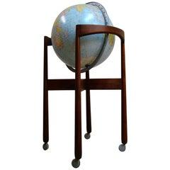 1950s Jens Risom Designed Sculptural Walnut Standing Floor Globe, USA