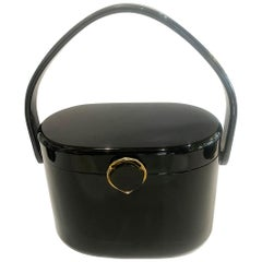 1950s Jet Black shiny Lucite purse bag handbag by Wilardy