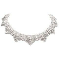 1950s Jewels Deco Diamond Choker Platinum Necklace