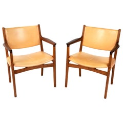 1950s JH-525 Pair of Armchairs by Hans J. Wegner for Johannes Hansen