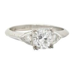 1950's J.H. Flyer 0.86 Carat Diamond Platinum Knife Edge Engagement Ring