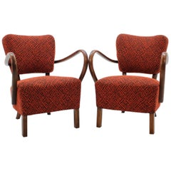 1950s J. Halabala Lounge Chair H-237, Set of 2
