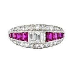 1950's J.L. Brandt Co. Ruby Diamond Platinum Band Ring