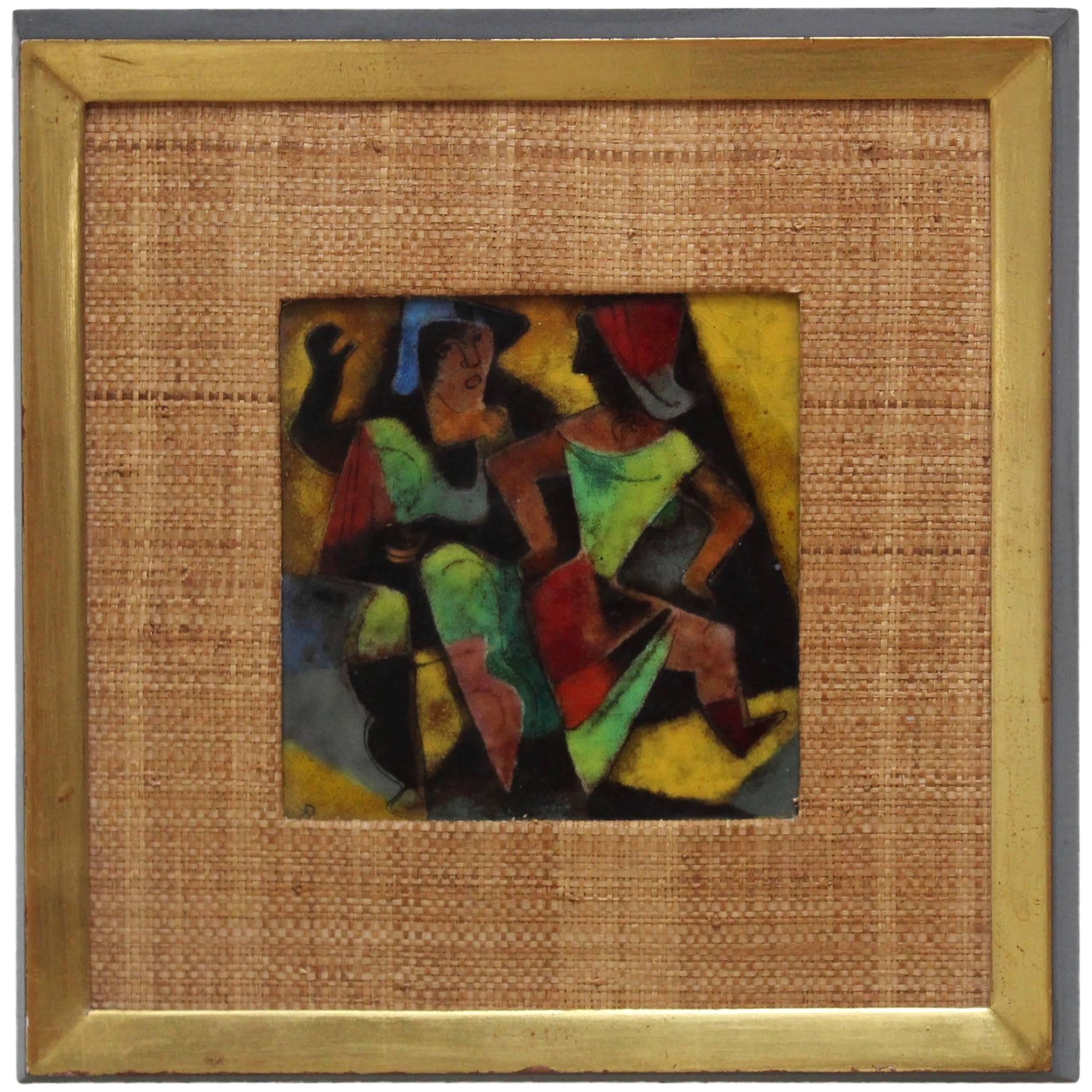1950s Karl Drerup Enamel on Copper Frame Artwork
