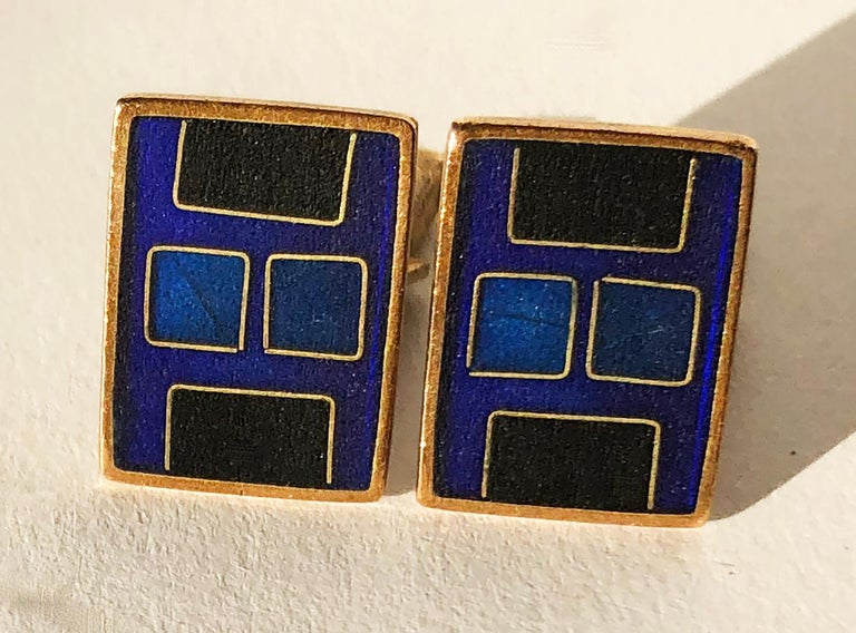 1950s Karl Schibensky Scholtz Lammel German Modern Blue Matte Enamel Cufflinks In Good Condition For Sale In Los Angeles, CA